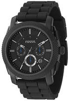 Fossil Mens Machine Black Dial With Black Silicone Strap Watch