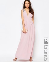 Little Mistress Tall Embellished Plunge Front Peplum Waist Maxi Dress