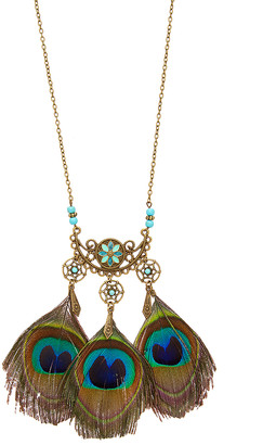 Braided Birch Women's Necklaces - Peacock Feather Statement Necklace