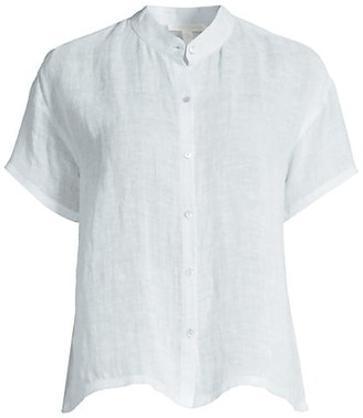 Eileen Fisher Mandarin Collar Short-Sleeve Shirt