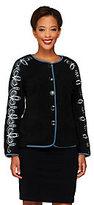 Bob Mackie As Is Bob Mackie's Button Front Fleece Jacket w/Sleeve Embroidery