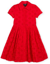 Oscar de la Renta Floral Eyelet Pleated Shirtdress, Cherry, Size 2-14