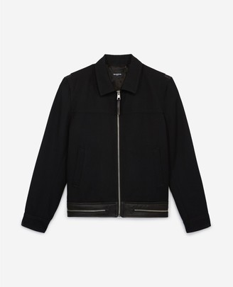 The Kooples Rock-style wool jacket with leather band