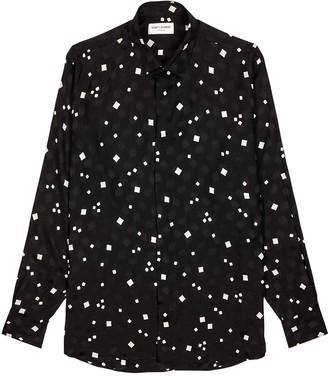 Saint Laurent Black printed silk shirt