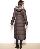 London Fog Hooded Faux-Fur-Trim Maxi Puffer Coat