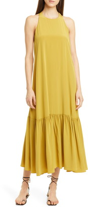 Tibi Halter Neck Silk Midi Dress