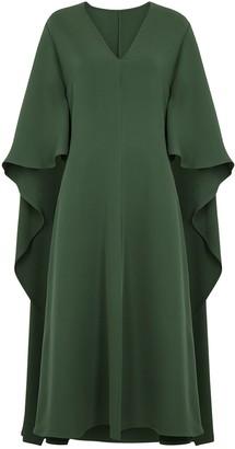 Valentino Forest green cape-effect silk dress
