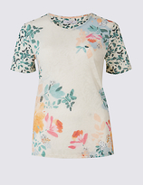 Per Una Printed Round Neck Short Sleeve T-Shirt