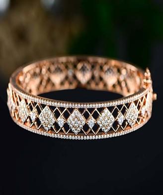 Swarovski Barzel Women's Bracelets Gold - 18k Gold-Plated Filigree Bangle With Crystals