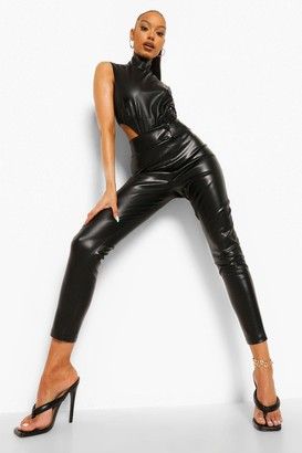 boohoo Popper Fastening Leather Look Pu Leggings