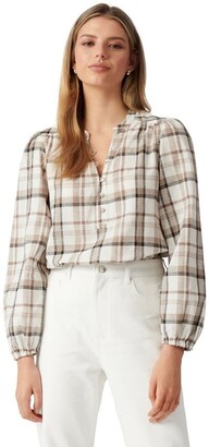 Forever New Kinsley Check Blouse Brown Check