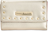 Tommy Hilfiger Studded Pebble Leather Medium Flap Wallet
