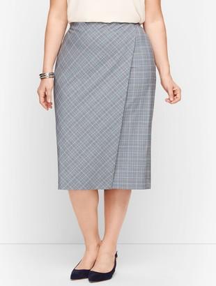 Talbots Springtime Plaid Pencil Faux Wrap Skirt