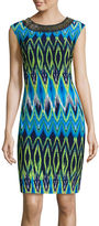 Studio 1 Sleeveless Necklace Print Sheath Dress