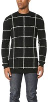 McQ by Alexander McQueen Alexander McQueen Brushed Stripe Grid Crew Sweater