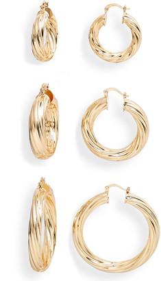 8 Other Reasons Set of 3 Twist Hoop Earrings