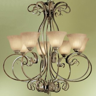 Manilla 8-Light Shaded Classic / Traditional Chandelier Classic Lighting Glass Color: White Alabaster Glass