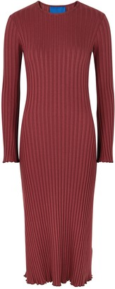 Simon Miller Wells Burgundy Ribbed Jersey Midi Dress