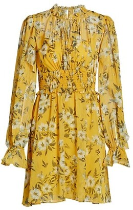 ML Monique Lhuillier Crinkle Chiffon Tie-Neck Dress