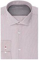 Calvin Klein Men's Stretch Xtreme Slim Fit Grid Check Spread Collar Dress Shirt