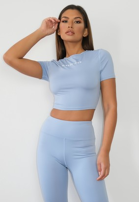 Missguided Blue Cropped Gym Top