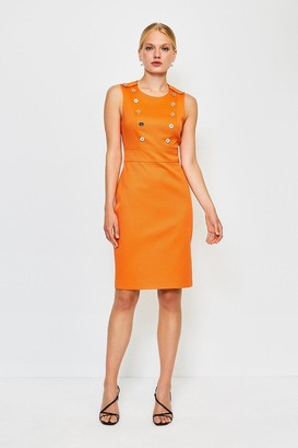 Karen Millen Button Detail Sleeveless Pique Dress