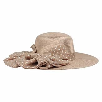 By Neki Womens Straw Sun Hat Foldable Adjustable Large Bow Know Polka Dot Wide Brim Floppy Summer Beach Hat Bow Knot Sun Visor UK (Natural)