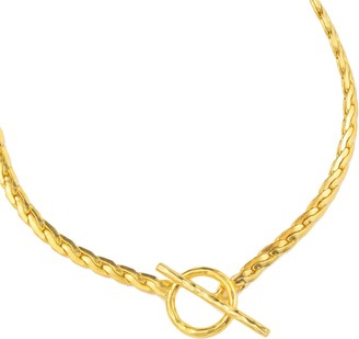 Ottoman Hands Gold Snake Chain Necklace With T Bar
