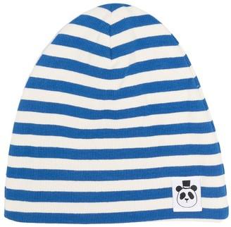 Mini Rodini Logo-Patch Striped Beanie Hat