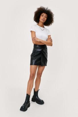 Nasty Gal Womens Premium Pu Knot Mini Skirt - Blue - 12