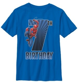 Fifth Sun Marvel Big Boy's Spider-Man Swinging 7Th Birthday Short Sleeve T-Shirt