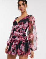 Asos Design DESIGN long sleeve ruched floral dobby mesh bodycon mini dress