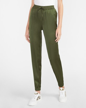 Express High Waisted Satin Cinched Hem Drawstring Jogger Pant