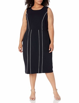Donna Morgan Women's Plus Size Sleeveless Stretch Knit Crepe Contrast Piping Sheath Dress