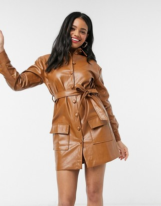 In The Style x Fashion Influx brown pu balloon belted sleeve dress
