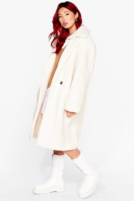 Nasty Gal Womens Go Long Faux Fur Coat - White - M/L