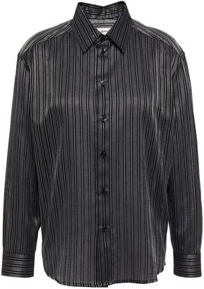 Saint Laurent Metallic Striped Cotton-blend Jacquard Shirt