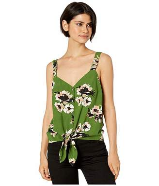 1 STATE 1.State 1.STATE Sleeveless Tie Front Button Down Floral Mirage Blouse (Palm Leaf) Women's Blouse