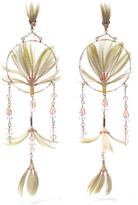 Valentino Gold-tone, Crystal, Bead And Feather Earrings - one size