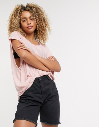 Free People Halo washed look t-shirt in pink