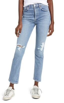 AGOLDE Riley Ripped Super High Waist Crop Straight Leg Jeans