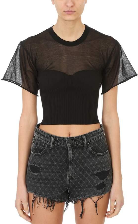 Alexander Wang Black Cropped T-shirt