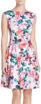 Eliza J Floral Print Scuba Fit & Flare Dress