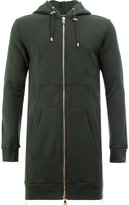 Balmain longline zip detail hoodie - men - Cotton - M