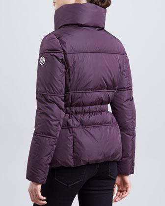 Moncler Hip-Length Puffer Jacket, Plum