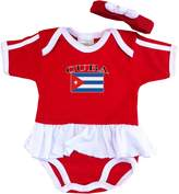 PAM baby girls Cuba soccer bodysuit with white piping