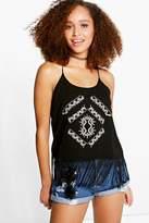 boohoo Lily Embroidered Tassel Hem Cami black