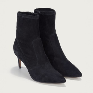 The White Company Suede Stretch Ankle Boots, Black, 36