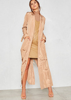 Missy Empire Corrie Nude Silky Maxi Trench Coat