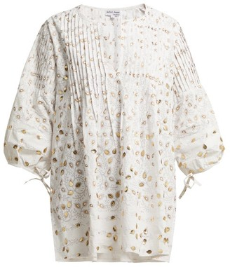Juliet Dunn Leaf Embellished Cotton Blouse - Womens - White Multi